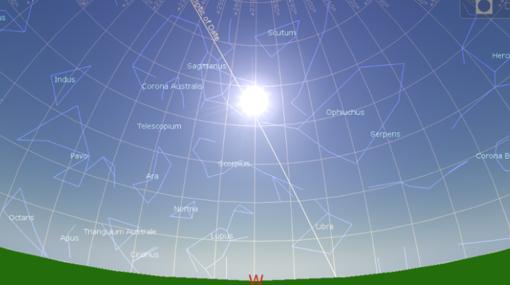 Posición del sol y las estrellas en el solsticio de verano 10950BC