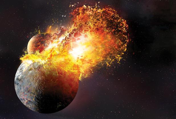 Recreación del impacto que formó la Luna