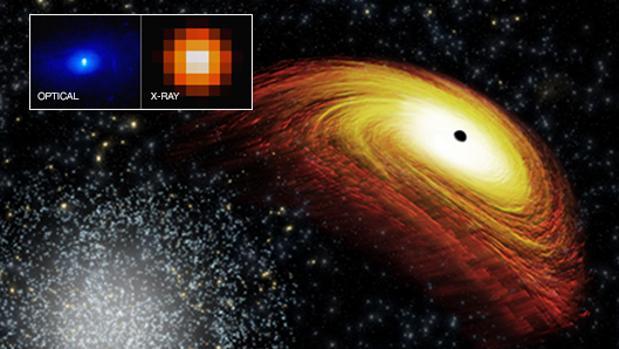 Representación de un agujero negro supermasivo (a la derecha) expulsado del centro de su galaxia
