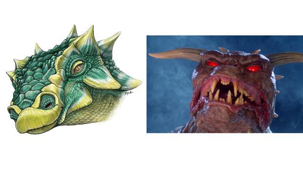 A la izquierda, la nueva especie (Zuul crurivastator), y a la derecha el monstruo (Zuul)