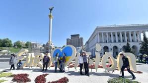 El logo de Eurovisión, en la plaza Maidán de Kiev