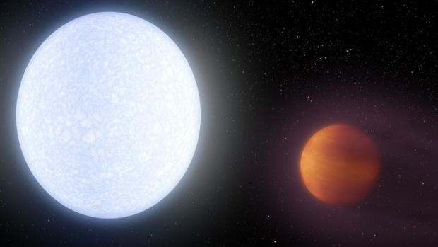 Ilustración de la estrella Kelt-9 y su sobrecalentado planeta Kelt-9b