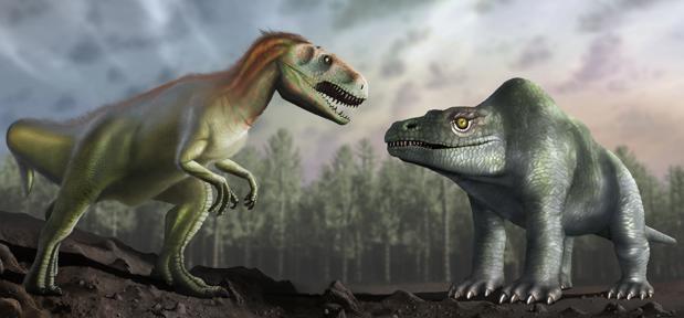 El megalosaurio tal y como los paleontólogos victorianos creían que era (derecha) y tal y como se describe en la actualidad (izquierda)