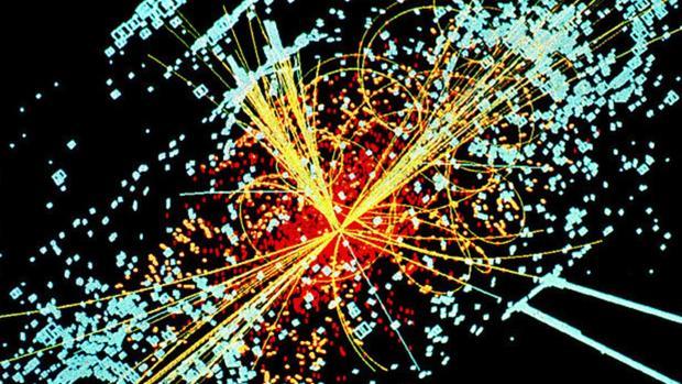 Simulación de un choque de partículas en el gran colisionador (LHC)