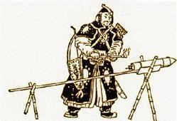 Los chinos usaban bambú para los tubos de sus cohetes. Un cartucho con boquilla y uuna varilla de guía para mantener la trayectoria permitía crear un arma poderosa