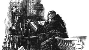 Roger Bacon, en su laboratorio alquímico. Según una leyenda, usó la nigromancia para animar una cabeza de bronce capaz de responder correctamente a cualquier pregunta