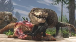 Un razanandrongobe sakalavae se alimenta de un cadáver de saurópodo durante el Jurásico Medio en Madagascar. A d