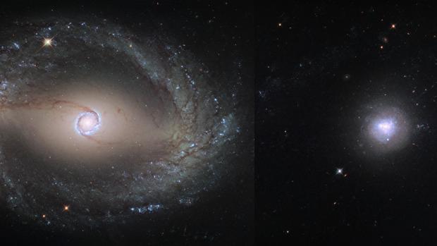 Dos galaxias en fusión: la barrada NGC 1512 y la enana NGC 1510