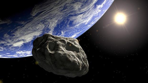 Imagen computerizada de un asteroide orbitando la Tierra
