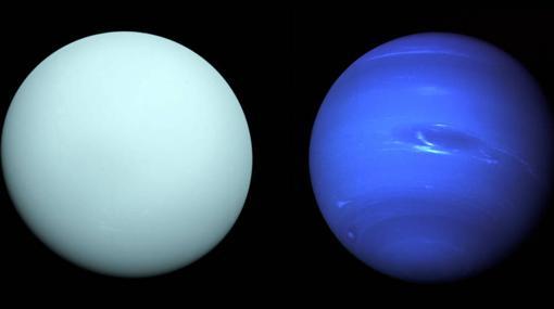 Dos mundos gigantes y gaseosos. Urano, a la izquieda, y Neptuno, a la derecha.