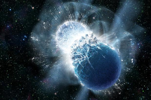 Representación de una colisión de estrellas de neutrones. Detectar las ondas gravitacionales en ese momento permitiría aprender sobre su estructura y origen y confirmar la Relatividad de Einstein con gran precisión