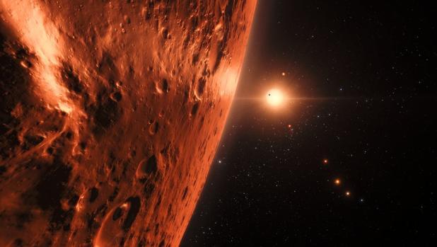 Representación artística del sistema solar de TRAPPIST-1, a 40 años luz de la Tierra