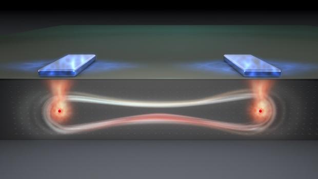 Representación del nuevo diseño de chip, en el que se observan dos «qubits» entrelazados