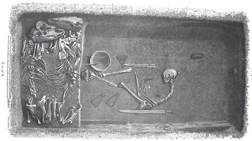 Ilustración de Evald Hansen basada en el plan original de la tumba, publicado en 1889