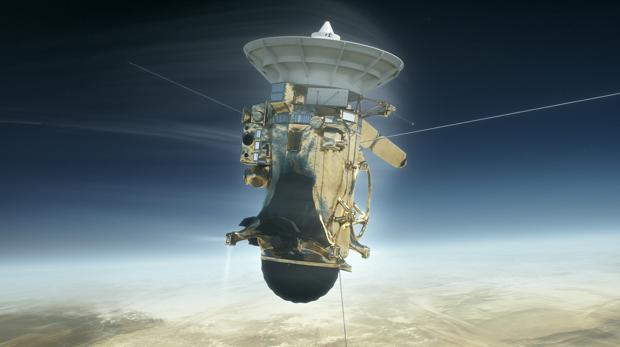 Ilustración del descenso mortal de la nave Cassini en Saturno