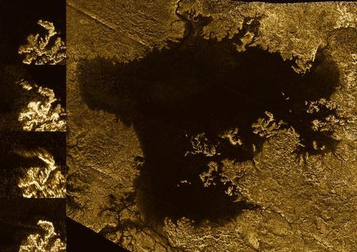 Imágenes de radar captadas por Cassini de Ligeia Mare, un enorme mar de hidrocarburos en Titán
