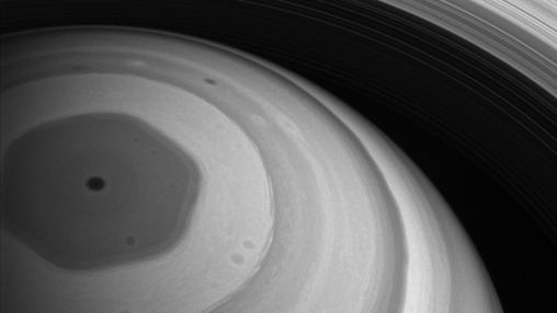 El polo norte de Saturno, visto por Cassini