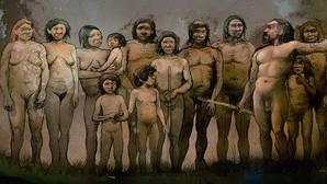 Recreación de los trece neandertales de El Sidrón. J1 es el primer niño por la izquierda. Detrás, su madre con su hermano pequeño en brazos
