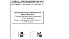 Imagen de la papeleta diseñada para el referéndum del 1-O