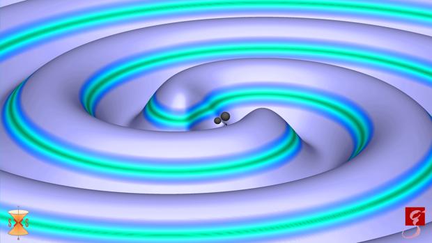 Ondas gravitacionales detectadas. Son distorsiones del espacio-tiempo generadas en la fusión de agujeros negros (en la imagen) y que viajan hasta la Tierra