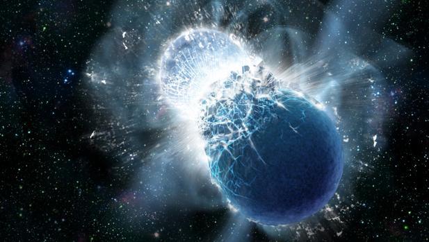 Colisión de dos estrellas. El colapso de sus masas genera ondas gravitacionales