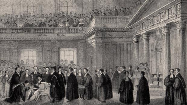 Admisión de un senior wrangler en 1842