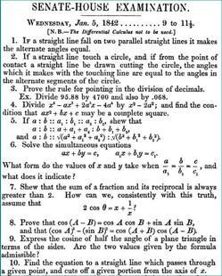 Hoja con problemas del tripos matemático de 1842