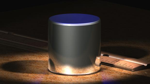 Dibujo de un prototipo de iridio y platino usado para definir un kilogramo