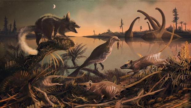 Recreación de los mamíferos descubiertos en la costa de Dorset