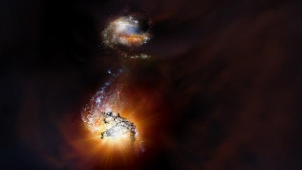 Impresión artística de dos galaxias que forman estrellas a gran velocidad, próximas a fusionarse