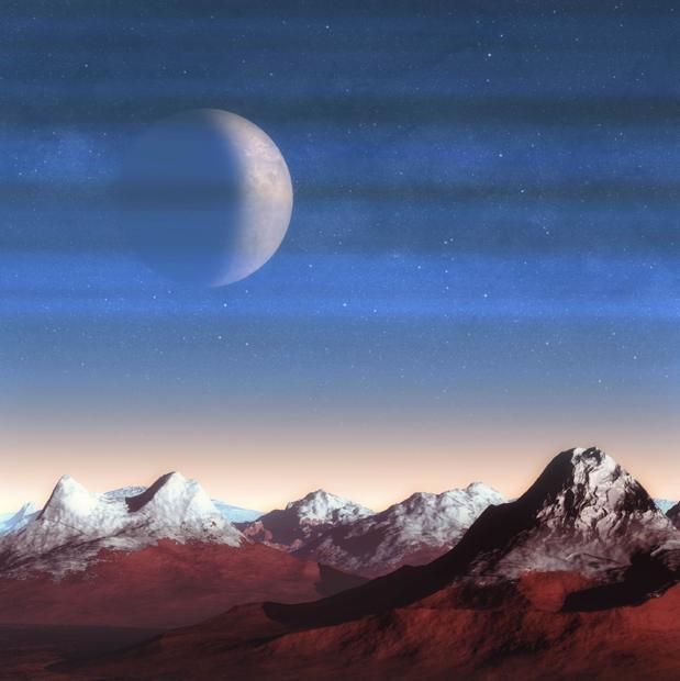 Recreación de Caronte, luna de Plutón, vista a través de las capas de bruma atmosférica del planeta enano sobre su paisaje montañoso