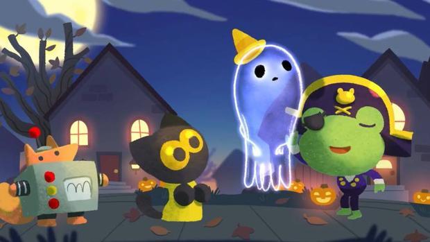 omitir este paso captura de video del doodle de halloween de google
