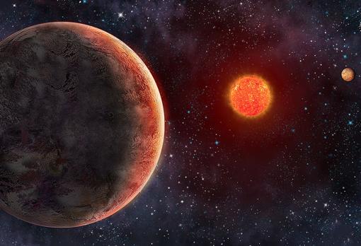 Representación artística del planeta GJ 273b, similar a la Tierra y hacia el que un equipo de astrónomos acaba de emitir un mensaje