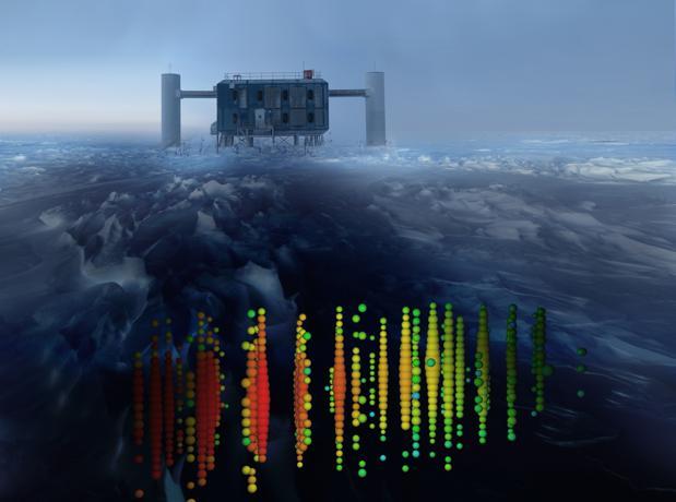 Recreación de una de las detecciones de neutrinos de mayor energía superpuesta en una imagen del experimento IceCube en el Polo Sur