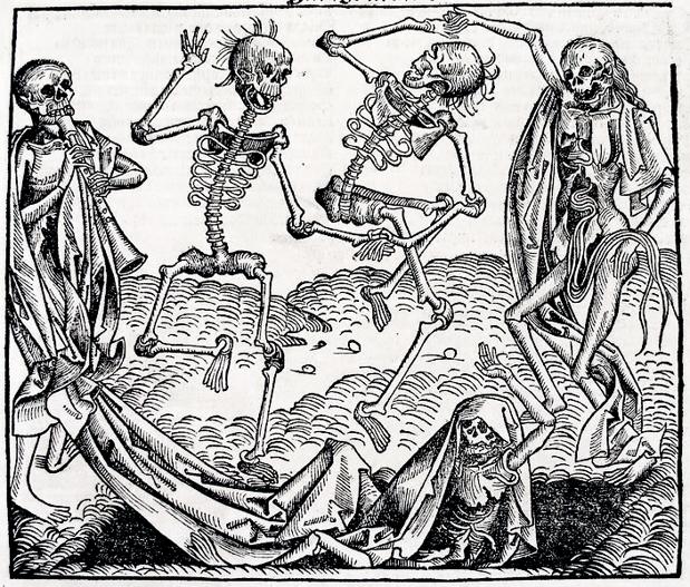«Danza macabra», de Michael Wolgemut, inspirada en la muerte negra