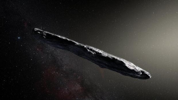 Recreación artística del asteroide extrasolar Oumuamua