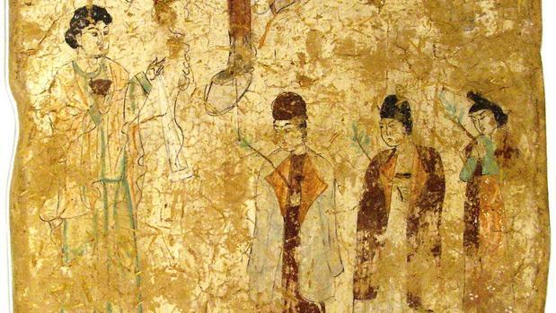 Representación del culto cristiano nestoriano, pintura de las Cuevas de Bezeklik, China, (s.VII-VIII)