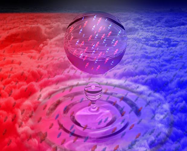 Vista artística de una gotita líquida cuántica formada mezclando dos gases de átomos de potasio ultrafríos