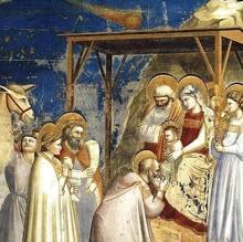 El cuadro «Adoración de los Reyes Magos», pintado por Giotto. El cometa, en la parte superior