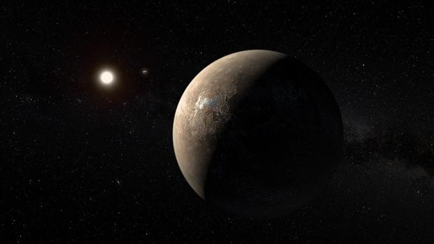 Recreación artística del planeta Próxima b, cerca de su estrella