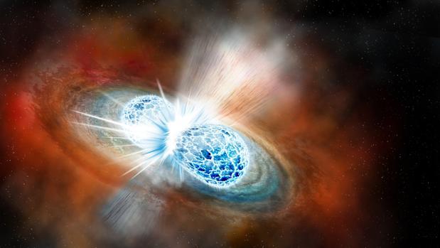 Recreación de la oolisión de dos estrellas de neutrones