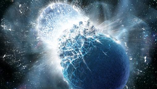 Imagen en la que se representa un choque de estrellas de neutrones, objetos extremadamente densos