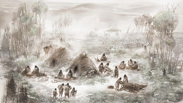 Ilustración del campamento Upward Sun River en lo que hoy es el interior de Alaska