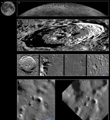Serie de imágenes que muestran la ubicación de algunos nuevos hoyos en el cráter Philolaus