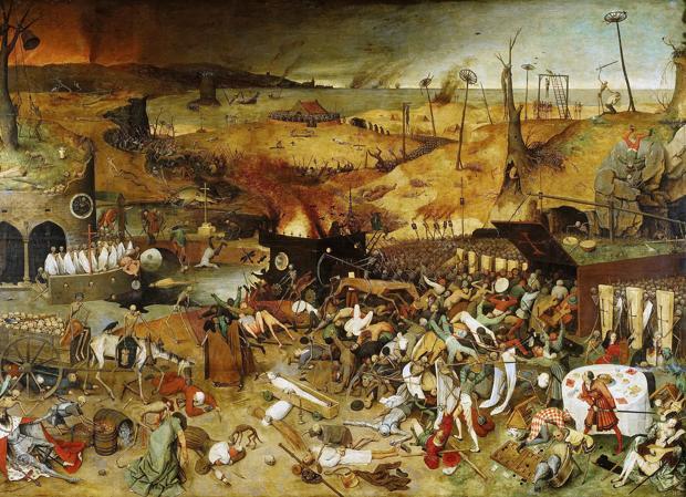 «El triunfo de la muerte», de Peter Brueghel el Viejo. Influido por la Muerte Negra, representa el juicio final