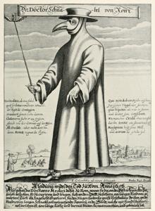 Grabado del siglo XVII: un médico de la peste