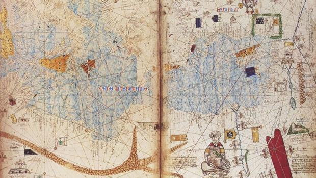 Detalle del mapamundi elaborado hacia 1375 y atribuido al judío mallorquín Abraham Cresques
