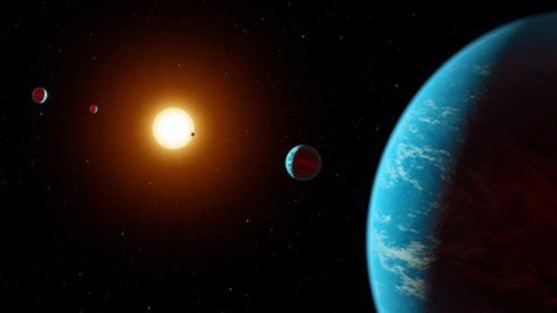 Visualización artística de K2-138, el primer sistema de múltiples planetas descubierto por científicos ciudadanos.