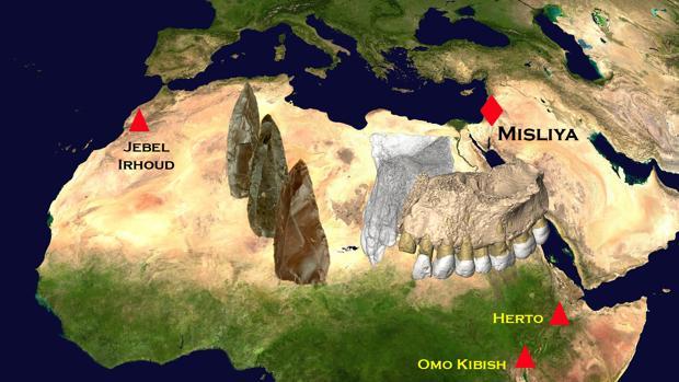 Localización de fósiles de los primeros humanos modernos en África y Oriente Medio