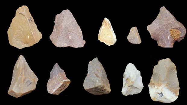Herramientas del Paleolítico medio halladas en el yacimiento de Attirampakham, al sureste de India